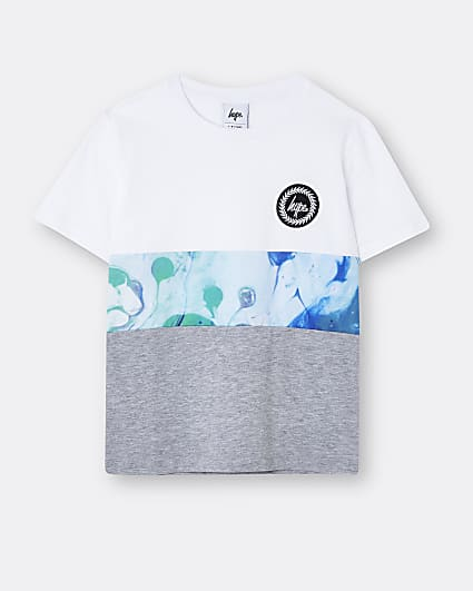 Boys white Hype marble colour block t-shirt