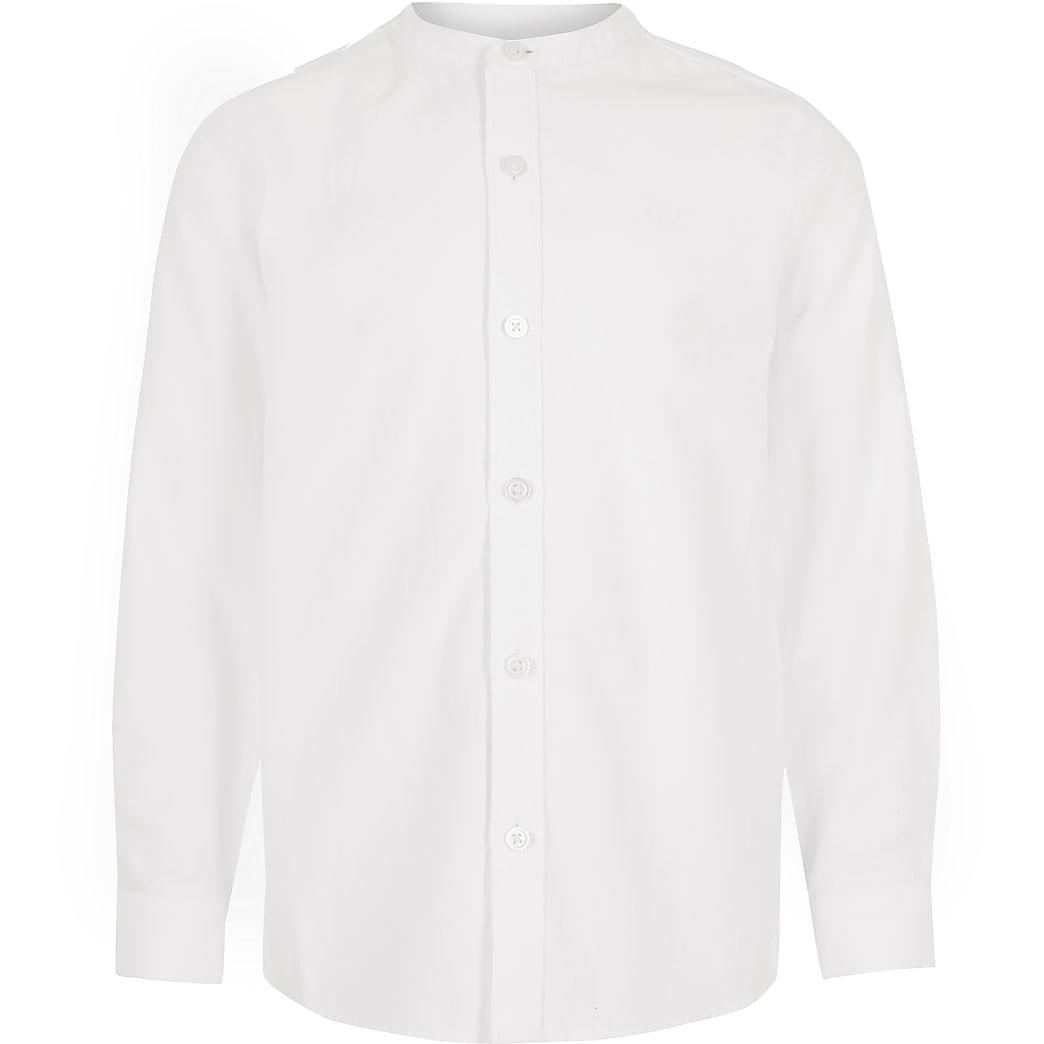 Boys white long sleeve grandad collar shirt
