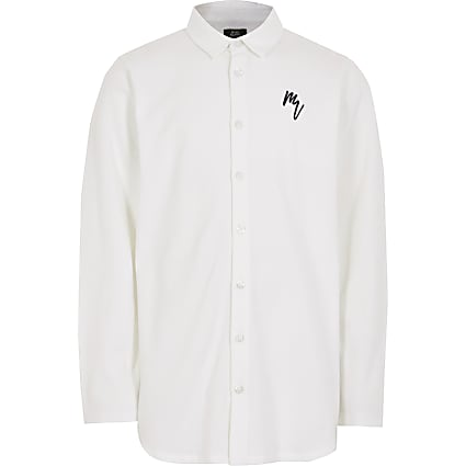 Boys white long sleeve pique shirt