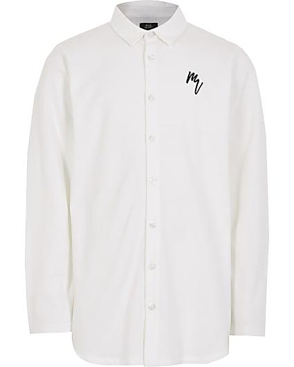 Boys white long sleeve pique shirt