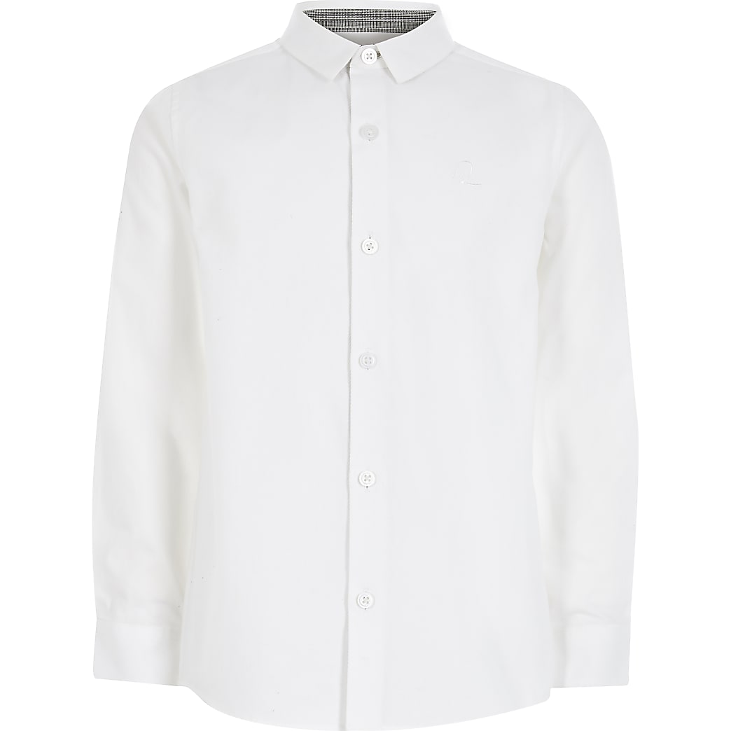 Boys white long sleeve R shirt