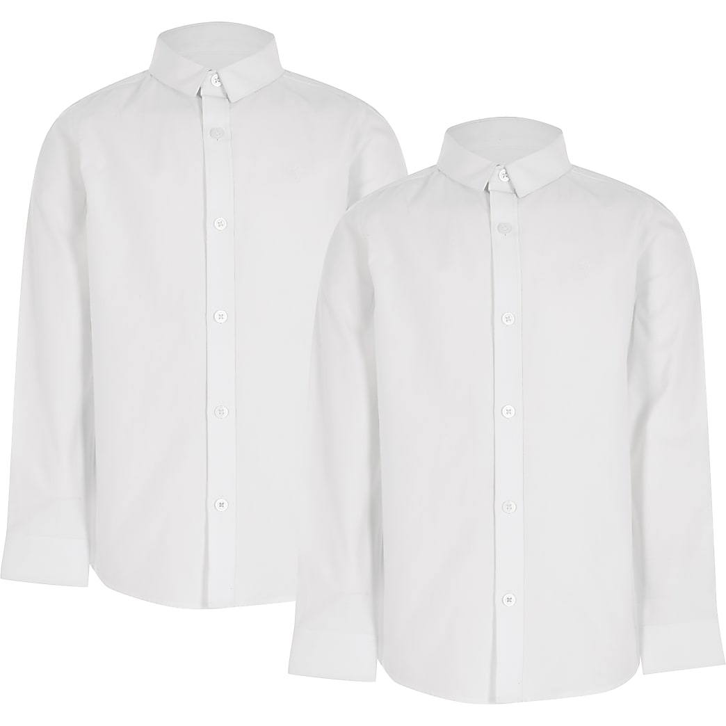 Boys white long sleeve shirt 2 pack