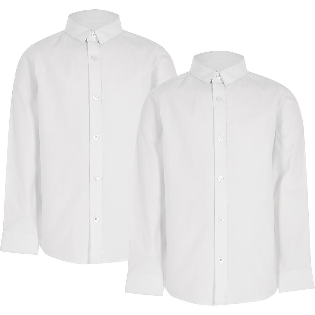 Boys white long sleeve shirt 2 pack