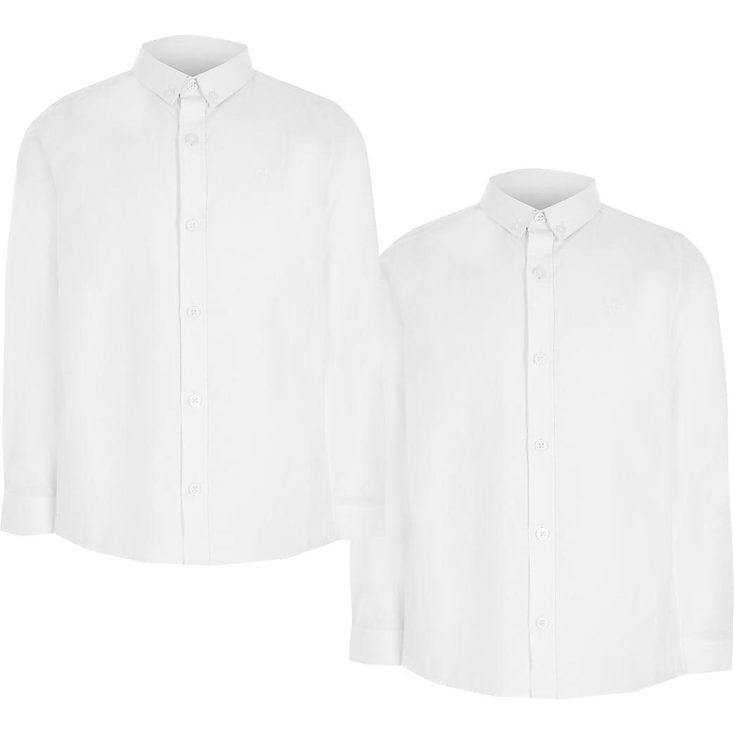 Set van 2 witte overhemden van keperstof met lange mouwen voor jongens