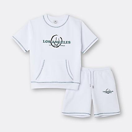 Boys white 'Los Angeles' sweatshirt outfit