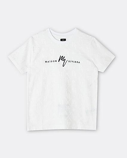 Boys white Maison Riviera embossed t-shirt