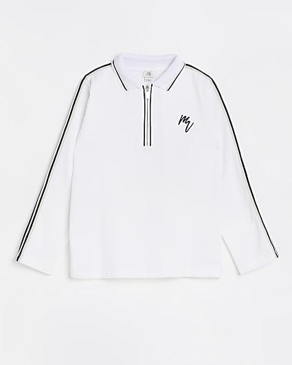 Boys white Maison Riviera stripe polo top