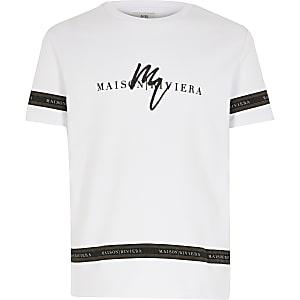 Maison Riviera - Wit T-shirt met bies
