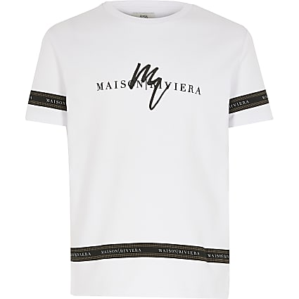 Boys white Maison Riviera tape T-shirt