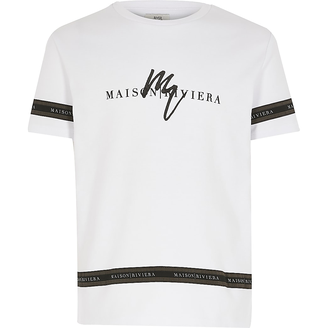 Boys white Maison Riviera tape T-shirt