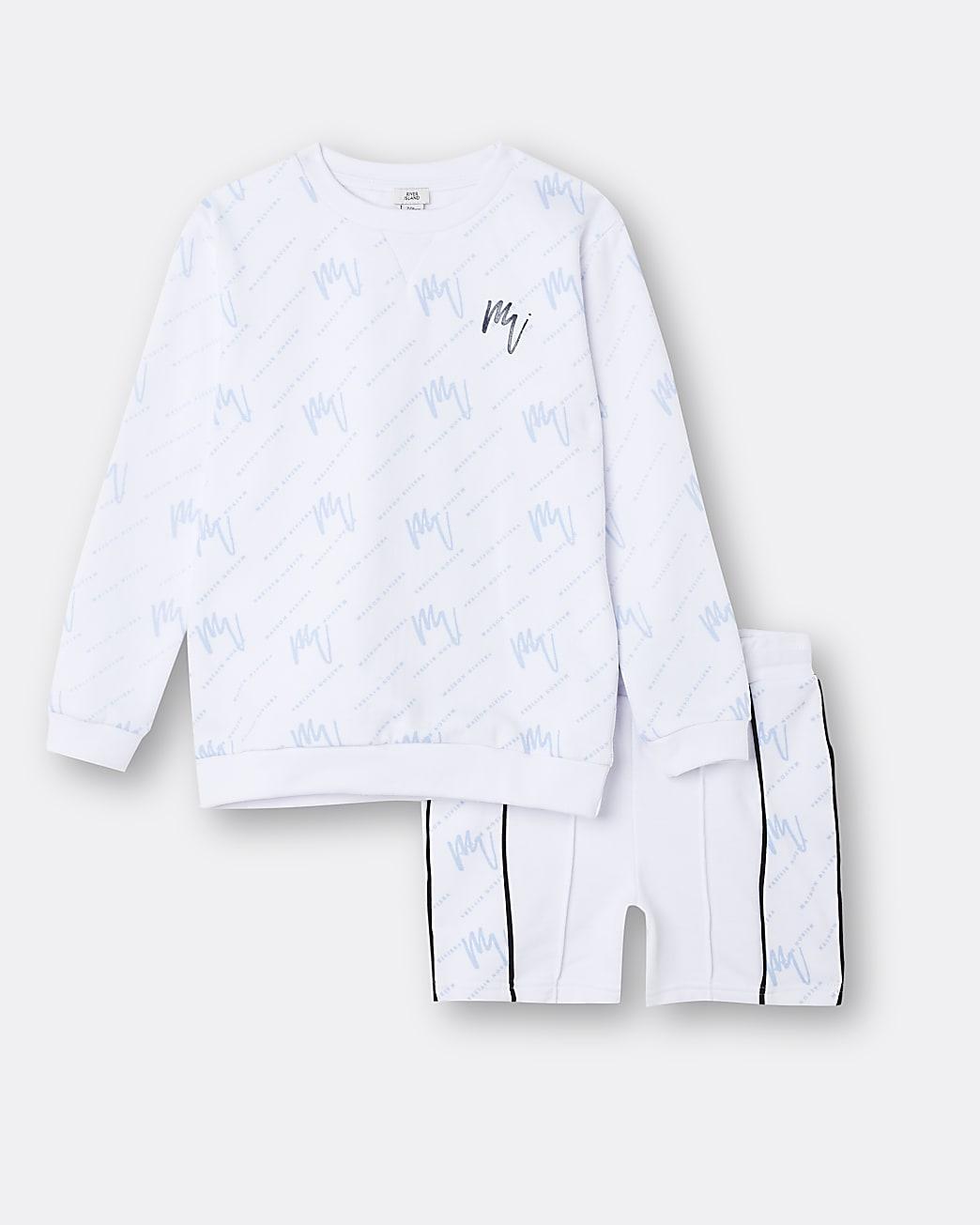 Boys white Maison Riviera top and shorts set