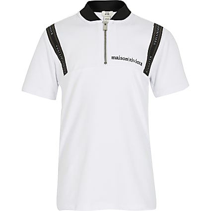 Boys white Maison Riviera zip polo shirt