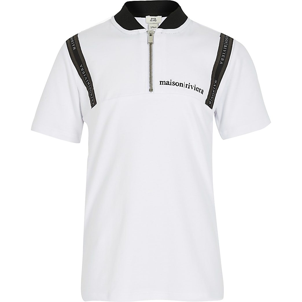 Boys white Maison Riviera zip polo shirt