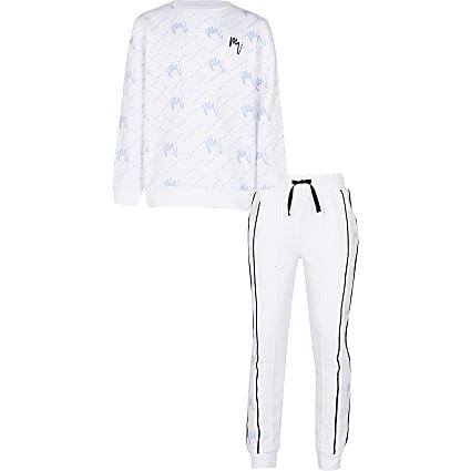 Boys white 'Maison' sweatshirt outfit