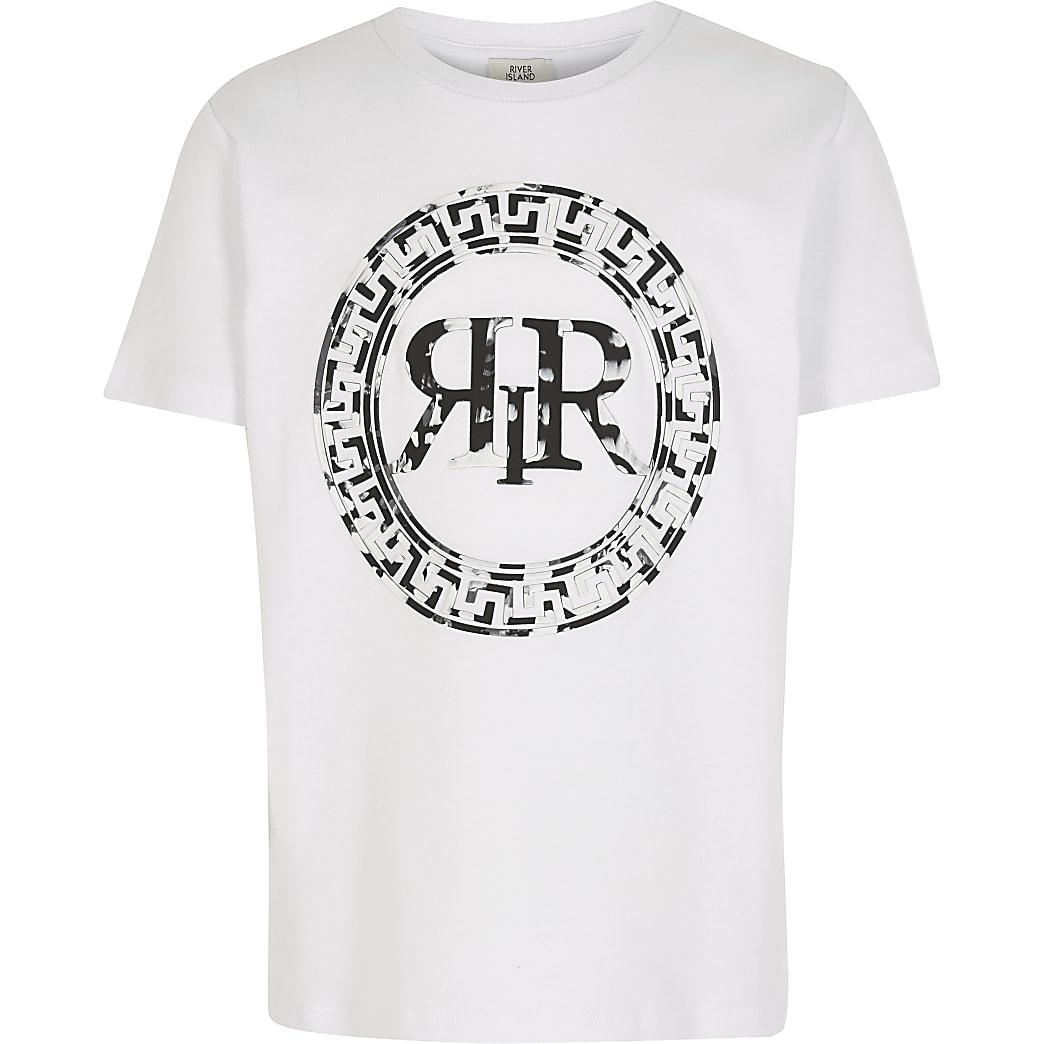 Boys White Marble Logo Print T-shirt