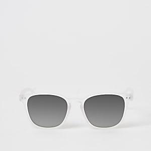 Witte retro zonnebril met weerspiegelende glazen voor jongens