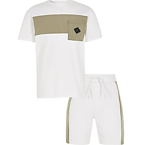Boys white nylon blocked pocket set