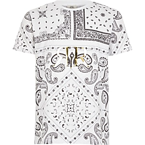 Weißes T-Shirt mit Paisley-Muster und RI-Prägung für Jungen