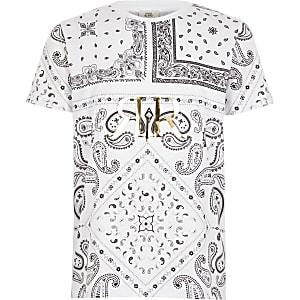 Wit paisley T-shirt met RI-print in reliëf voor jongens