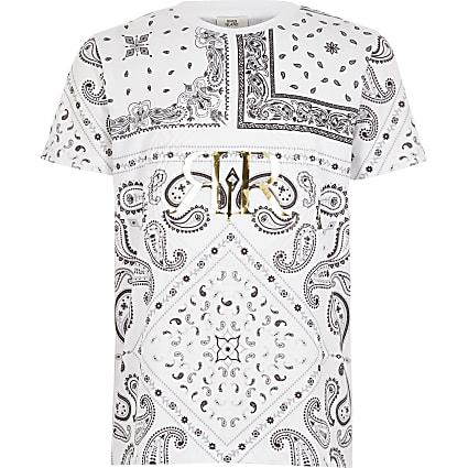 Boys white paisley RI embossed T-shirt