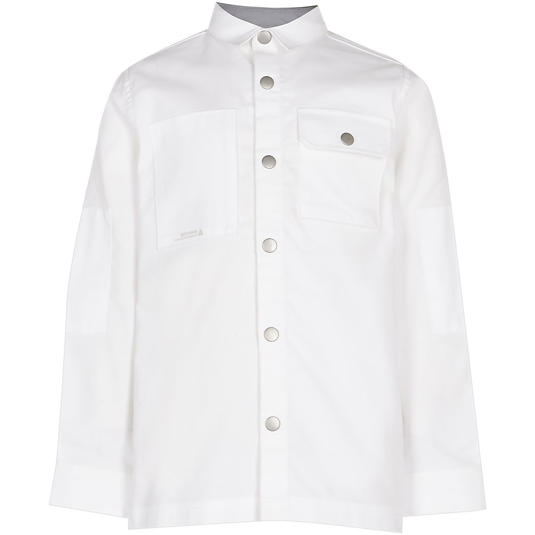 Boys white pocket shirt