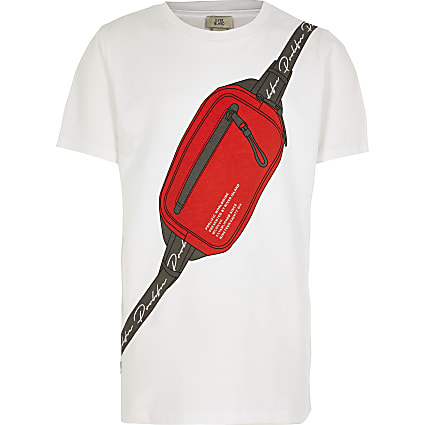 Boys white Prolific bumbag print t-shirt
