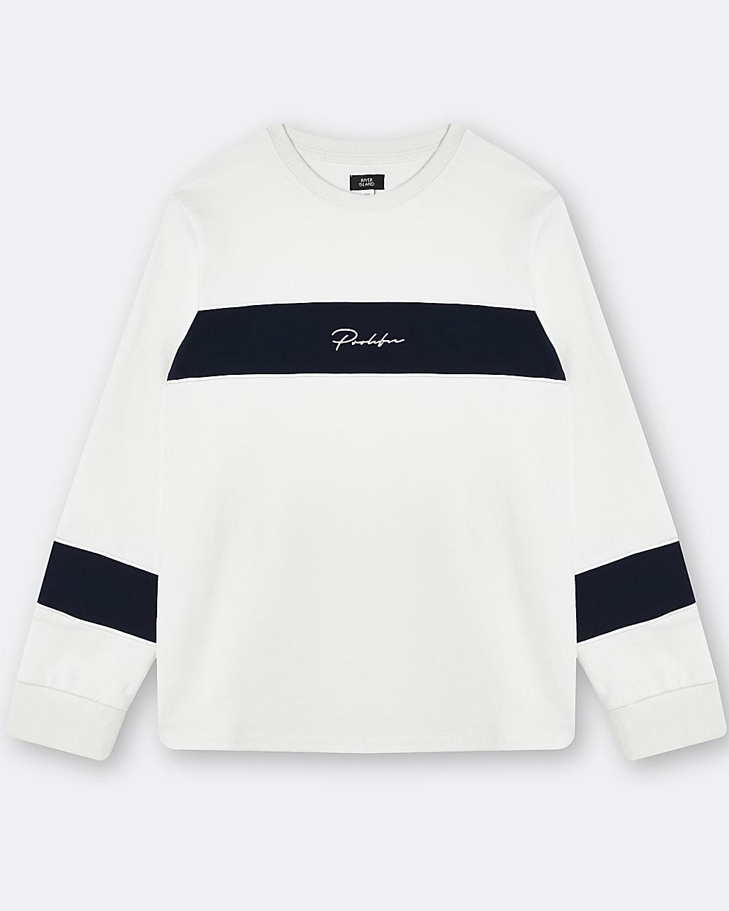 Boys white Prolific colour block sweatshirt