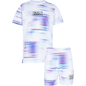 Boys White Prolific Glitch Tshirt Set