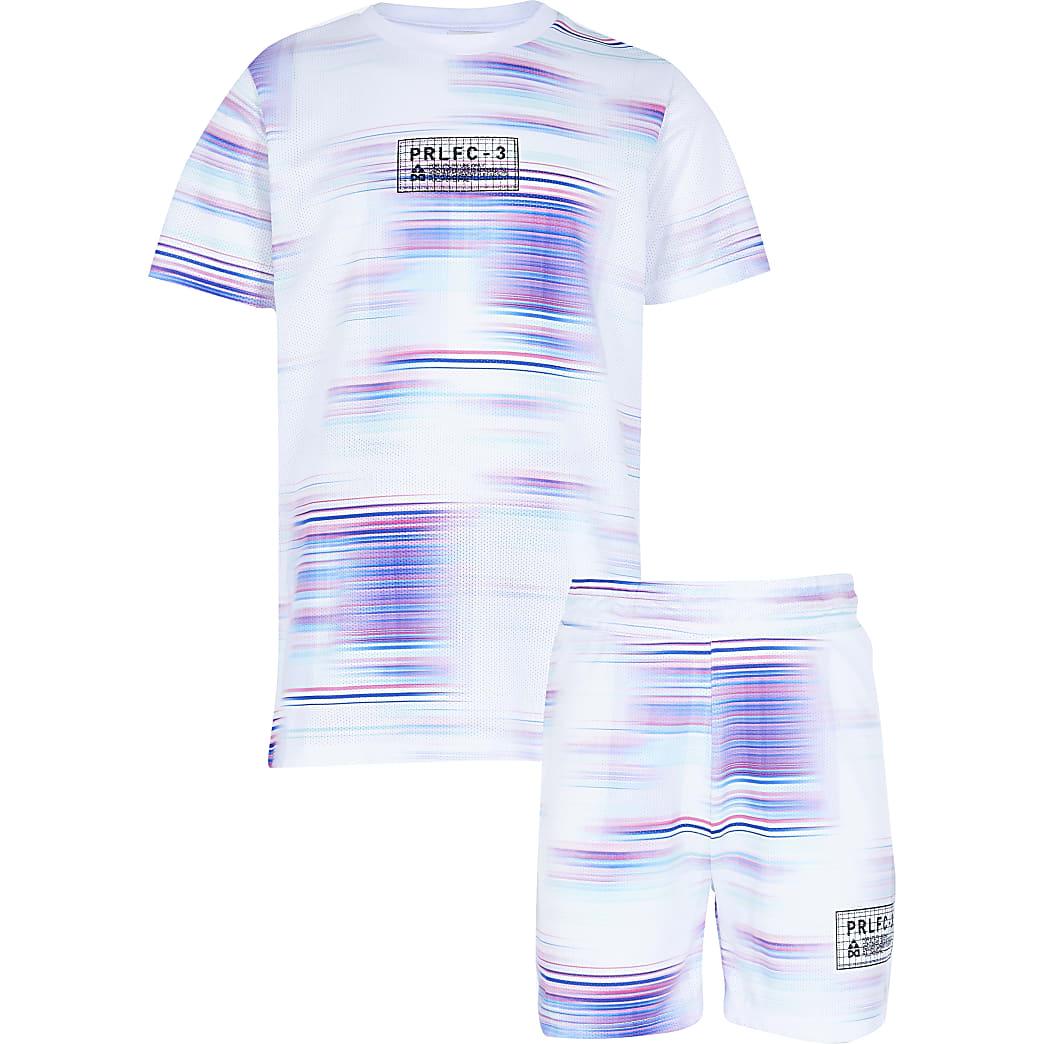 Boys White Prolific Glitch Tshirt Set