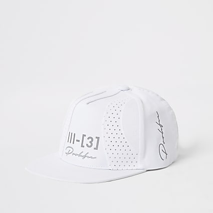 Boys white Prolific perforated block flat cap