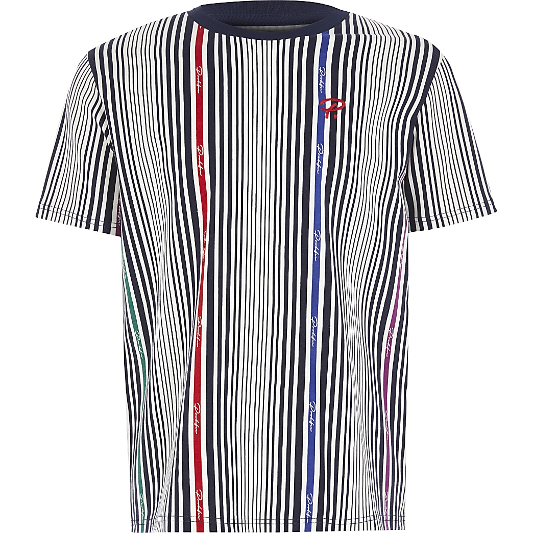 Boys white Prolific pinstripe T-shirt