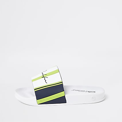 Boys white prolific stripe sliders