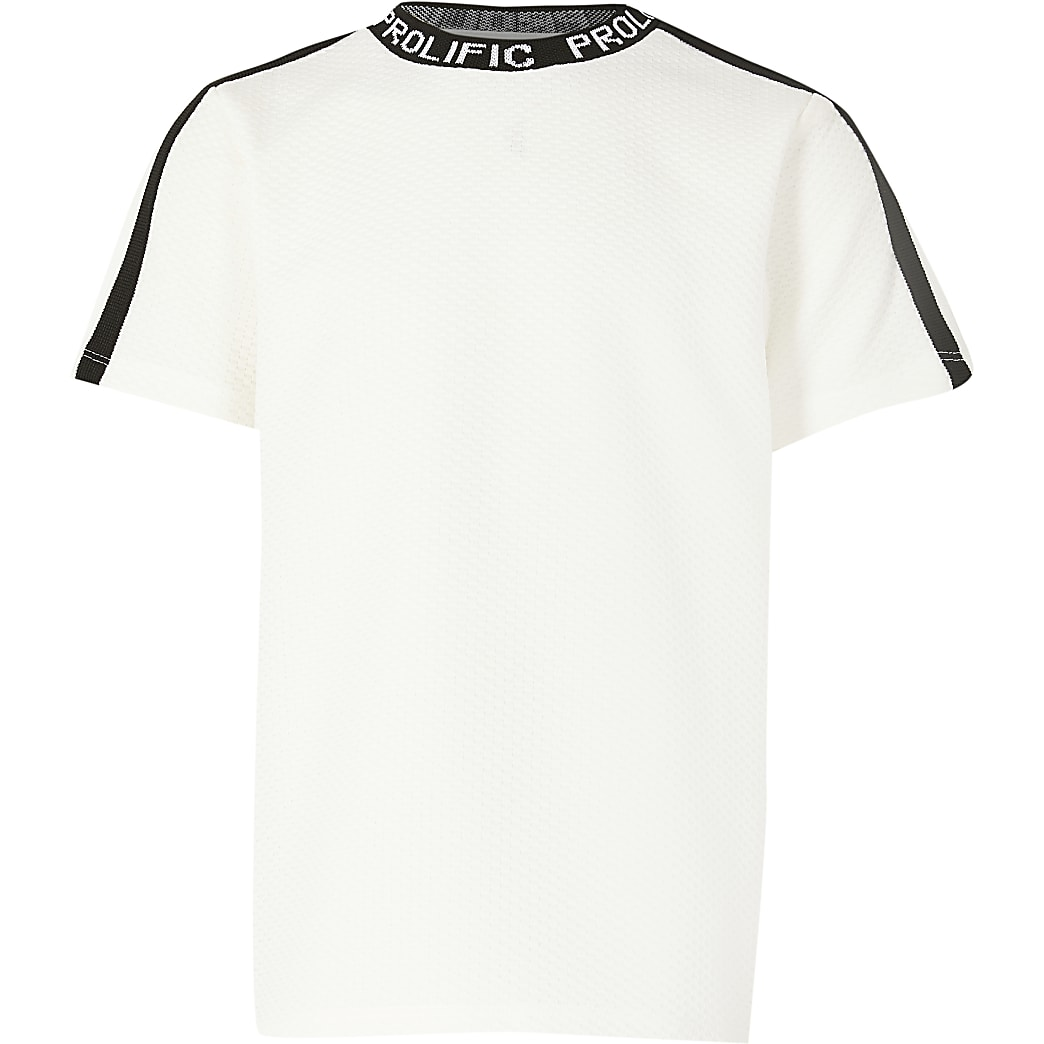 Boys white Prolific tape neck t-shirt