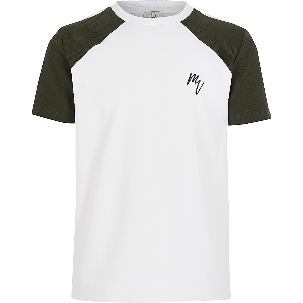 Boys white raglan tape T-shirt
