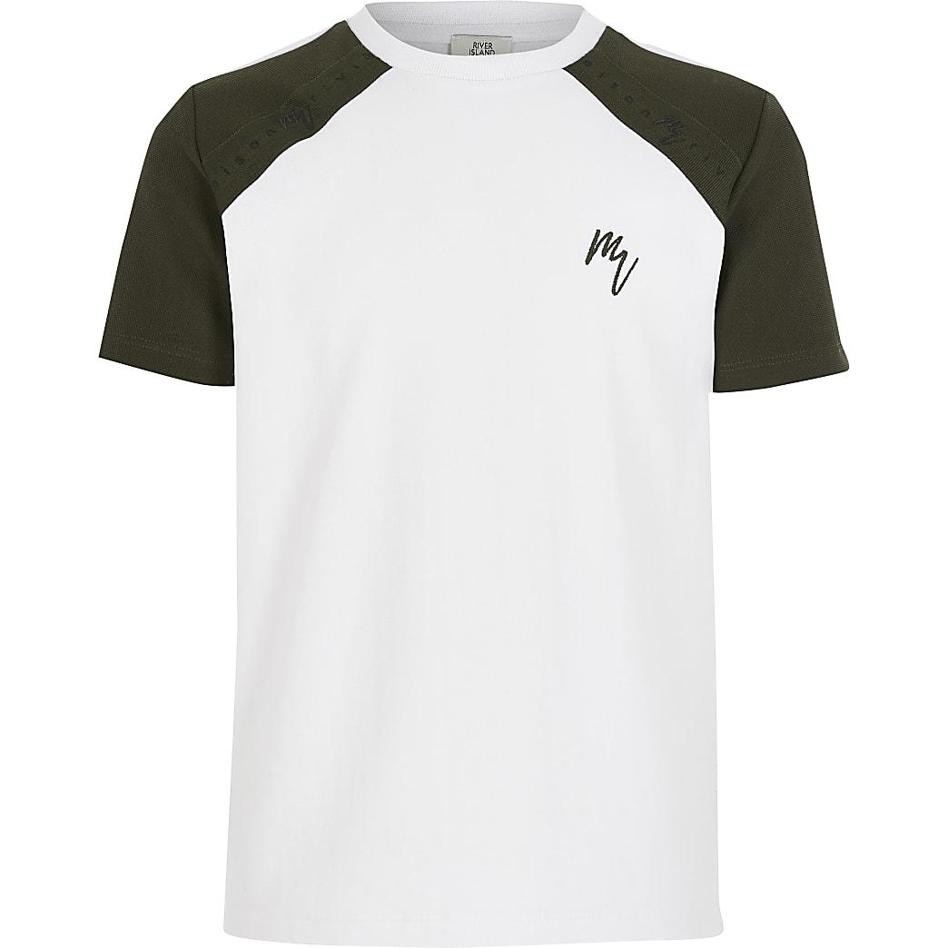 Wit T-shirt met bies op raglanmouwen voor jongens
