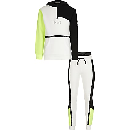 Boys white RI Active blocked tracksuit