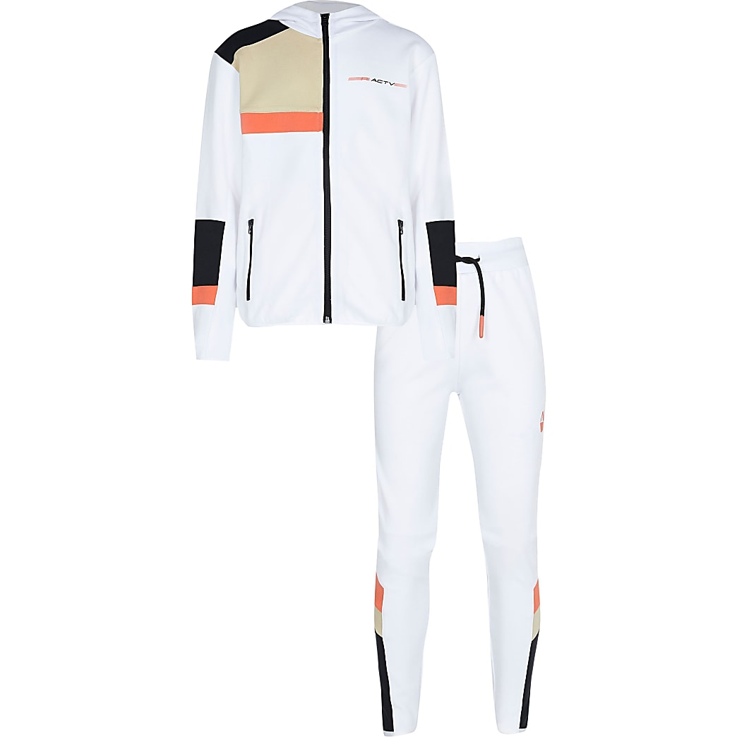 Boys white RI Active hoodie tracksuit