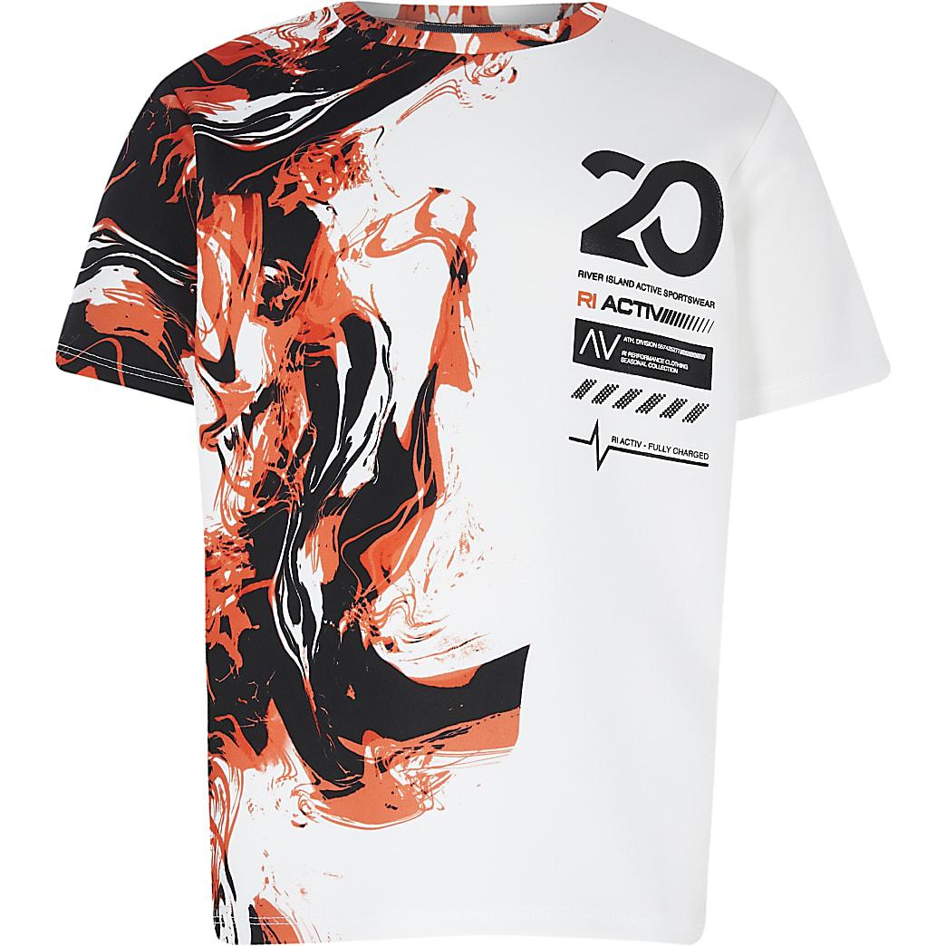 Boys white RI Active marble print t-shirt