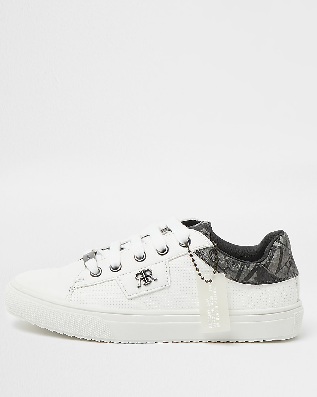 Boys white RI branded lace up trainers