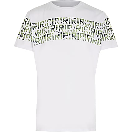 Boys white RI camo print t-shirt