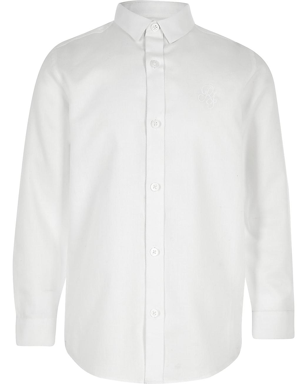 Boys white RI long sleeve shirt