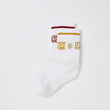 Boys white RI monogram sport socks 2 pack