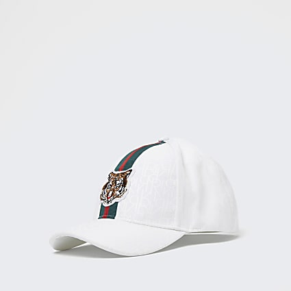 Boys white RI monogram tiger cap