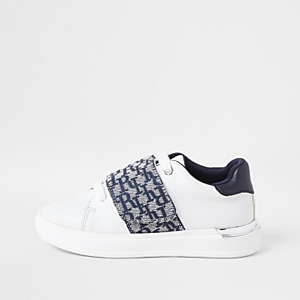Boys white RI monogram trainers