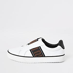 Witte slip-on sneakers met RI-print voor jongens