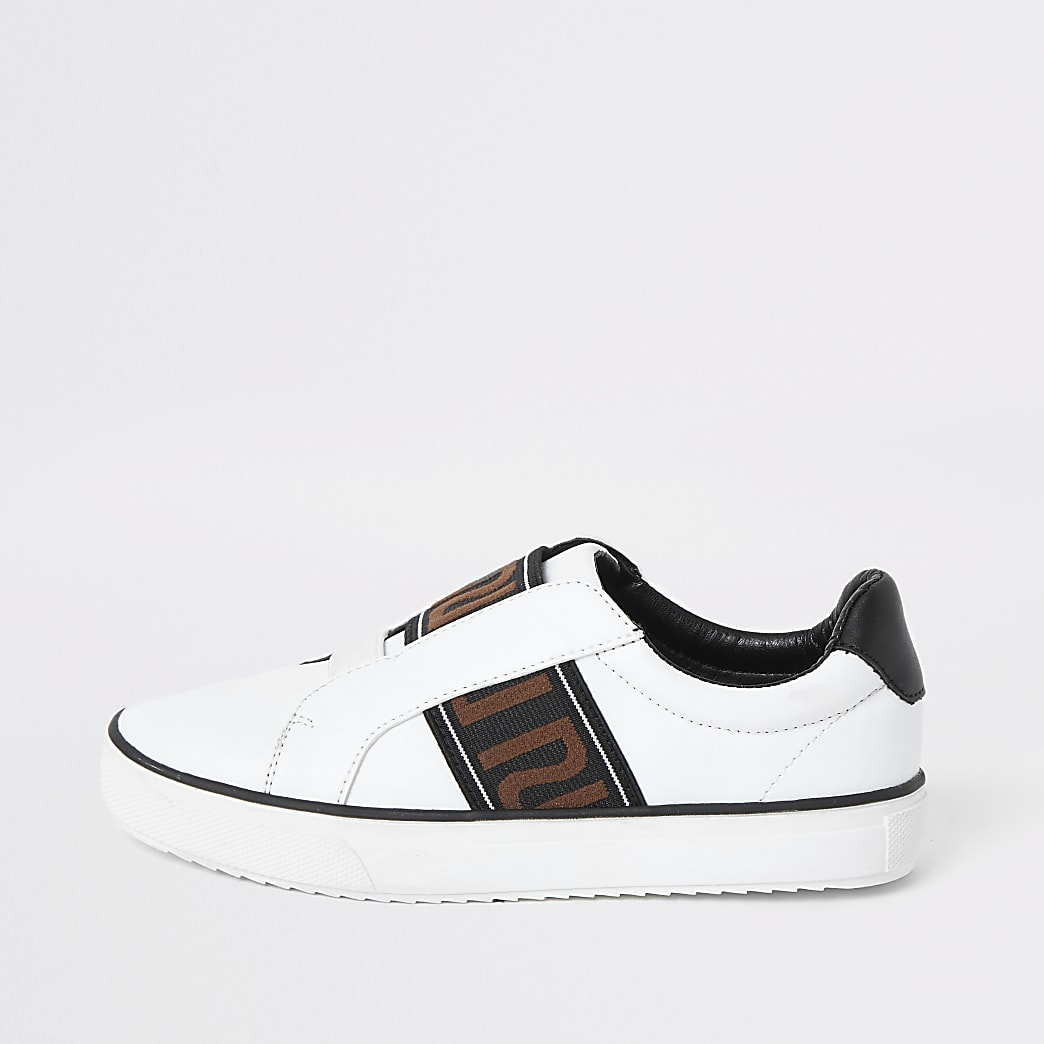 Weiße Sneaker zum Reinschlüpfen mit RI-Tape für Jungen
