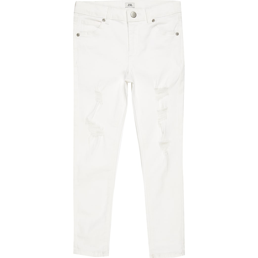 Boys white ripped spray on skinny jean