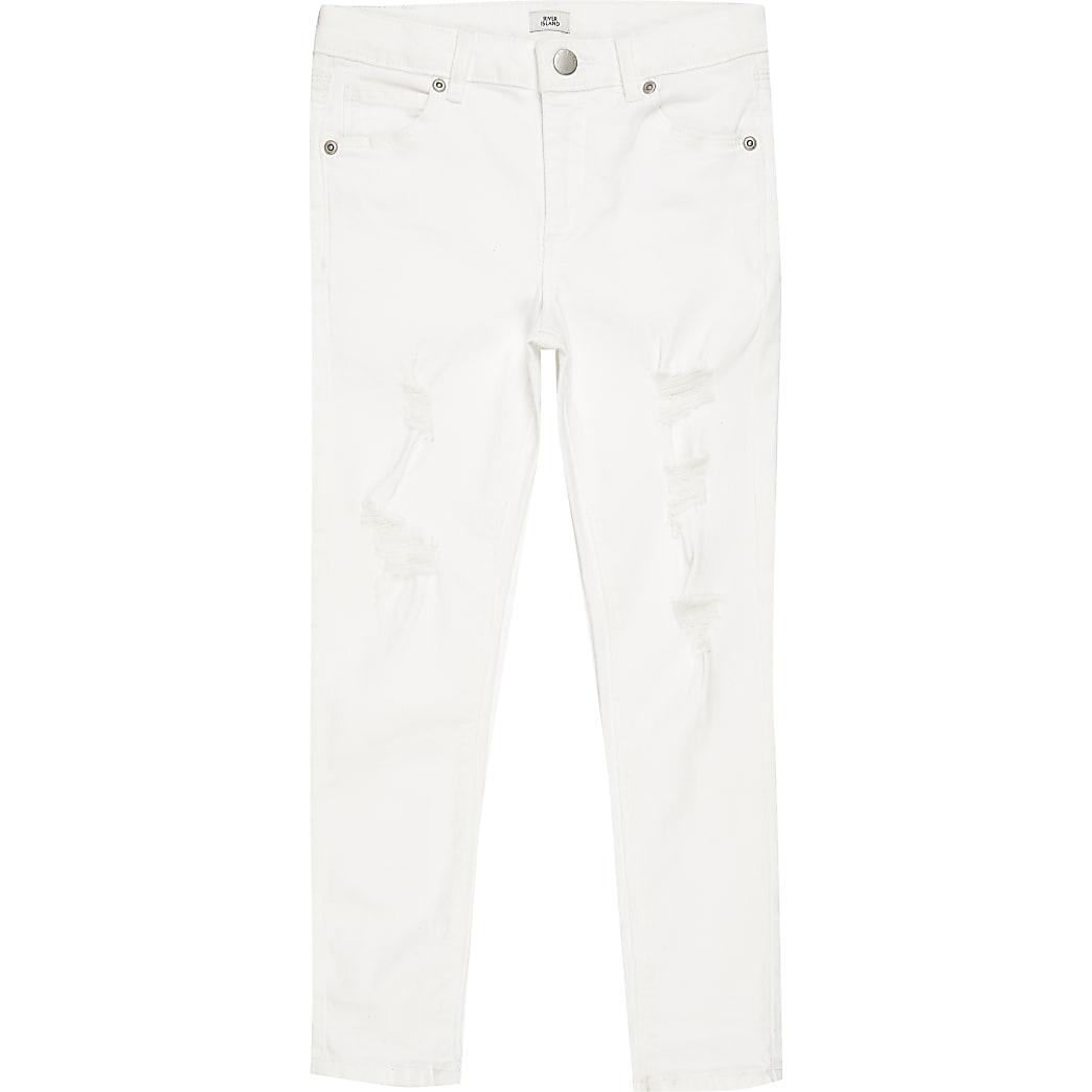 Boys white ripped spray on skinny jeans