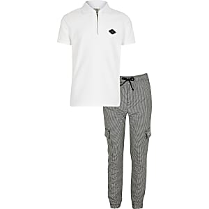 Boys white RIR badge polo top outfit