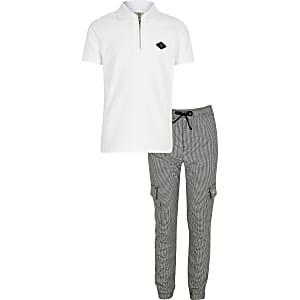 RIR – Weißes Poloshirt-Outfit mit Aufnäher für Jungen